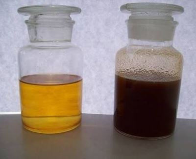 Clear and dirty oil comparison